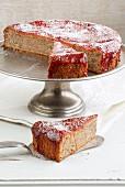 Chestnut cake with a hazelnut and blackcurrant jelly