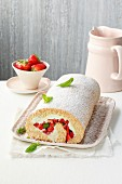 Buckwheat Swiss roll with strawberries and basil