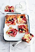 Rhubarb and berry tray bake