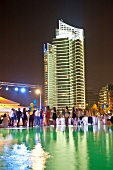 People partying at poolside near Four Seasons Hotel, Beirut, Lebanon