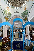 Low angle view of pulpit blue staircase at Abuhav Synagogue, Safed, Israel