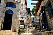 View of art gallery in old town, Alley, Safed, Israel