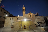 Facade of Gabriel church during Christmas time at night, Nazareth, Israel
