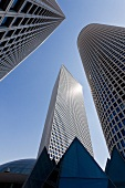 Low angle view of Azrieli Center and circular tower in Tel Aviv, Israel
