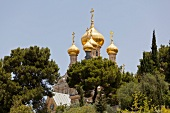 View of domes of St. Mary Magdalene Church at Mount of Olives, Jerusalem, Israel