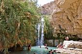 Israel, En Gedi Nationalpark, Wadi David, Wasserfall