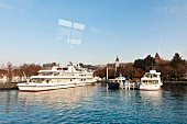 Ships moored in Lake Geneva, Lausanne, Canton of Vaud, Switzerland