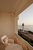 View of Umhlanga beach with lighthouse from balcony, Sri Lanka