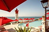 Swimming pool with oceanfront in The Oyster Box Hotel, Umhlanga, South Africa