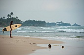 View of surfers holding surfboard on beach in Weligama, Sri Lanka