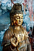 Close-up of Buddha sculpture in mudra position in temple, Colombo, Sri Lanka