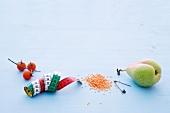 Abnehmen, Tomaten, Birne, Diät, Maßband, Sicherheitsnadel