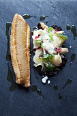 Roasted lemon sole, swede salad and horseradish foam