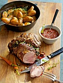 Braised leg of lamb with a spinach and herb stuffing