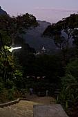 Pilgrims going downstairs at night in Sri Pada mountain, Sri Lanka