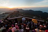 Elevated view of people at pilgrim on Sri Pada Mountain, Sri Lanka