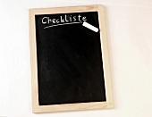 kleine Schiefertafel, horizontal, Checkliste