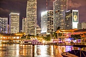 Illuminated skyline of Bay front Downtown Miami, Florida, USA
