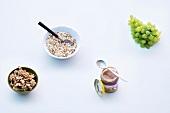 Abnehmen, Zusammenstellung, Frühstück, Obst, Nüsse, Müsli