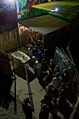 People in queue at a club in Friedrichshain, Berlin, Germany