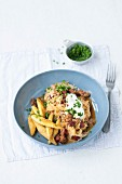 Sauerkraut and minced meat goulash with potato orzo pasta (Germany)