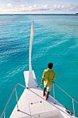 Man on Veligandu Island in Maldives