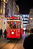 Nostalgic tram on Istaklal street in Beyoglu, Istanbul, Turkey