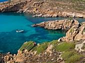 View of Thracian sea with rocky coast in Bozcaada, Turkey