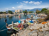 View of boats at the port of akcay, Aegean, Turkey