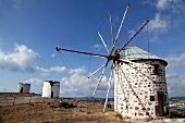 View of windmill in Bodrum Peninsula, Aegean, Turkey