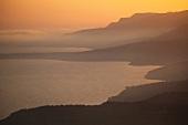 Türkei, Türkische Ägäis, Küste bei Assos, Sonnenuntergang