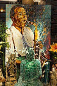 Showcase and painting of musician at Rue Saint Sulpice, Montreal, Canada