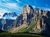 Rock mountain peaks at Banff National Park, Alberta, Canada
