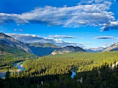 View of Bow River and mountains at Banff National Park, Alberta, Canada