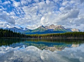 View of Hector Lake in front of Banff National Park, Alberta, Canada