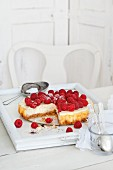 Cheesecake with fresh raspberries, sliced