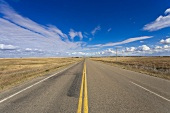 View of highway 42 South and landscape, Saskatchewan, Canada