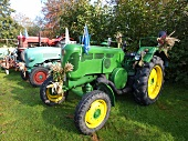 View of decorated tractor at Potato Festival in Horumersiel, Lower Saxony, Canada