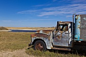 View of old truck on landscape at Highway 20, Saskatchewan, Canada
