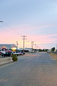 View of street in Moose Jaw at dawn light, Saskatchewan, Canada