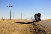 Truck loaded with hay on highway1, Saskatchewan, Canada