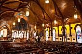 Interior of St. John's Anglican church in Lunenburg, Nova Scotia, Canada