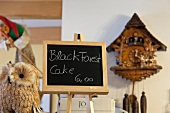 Signboard of Black Forest Cake in restaurant, Lunenburg, Nova Scotia, Canada