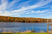 View of White Lake and autumn forest at the Prospect, Nova Scotia, Canada