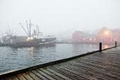 View of morning light fog in Lunenburg, Nova Scotia, Canada