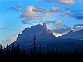 View of Castle Mountain and sky in Banff National Park, Alberta, Canada