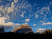 Cloudy blue sky, mountain, highway 1, lake Moraine, Banff National Park, Alberta, Canada