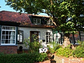 View of house in Spiekeroog, Lower Saxony, Germany