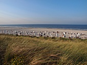 View of beach at Spiekeroog, Lower Saxony, Germany