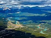 Aerial view of Athabasca River through Jasper National Park, Alberta, Canada